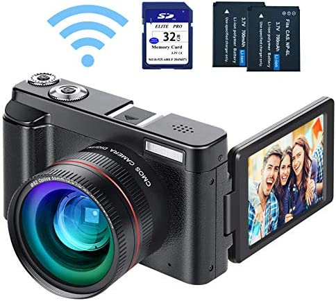 "Digital Vlogging Camera YouTube Camera HD 1080P 24MP Video Camcorder with WiFi Connection, 3.0"" IPS Flip Screen, Wide Angle Lens,16X Digital Zoom, 2 Batteries, 32GB SD Card"