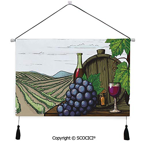 SCOCICI Durable Material Multipurpose W24xL17inch Wall Hanging Tapestry Landscape with Views of Vineyards Grapes Leaves Drink Barrel Agriculture Field Farm Decorative Decorative Painting Living Room
