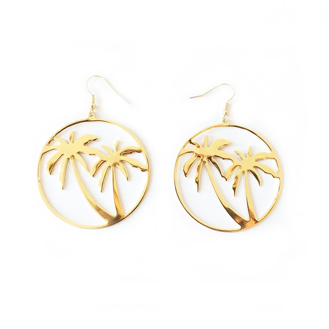 e8f3be99e41c Amazon.com  HOTER New Women Fashion Personality Retro Exaggerated Big Circle  Metal Coconut Leaf simple Jewelry Accessories earrings  Jewelry