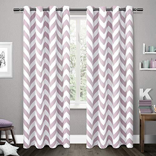Mars Curtain - Exclusive Home Curtains Mars Woven Blackout Thermal Window Curtain Panel Pair with Grommet Top, 52x84, Lilac, 2 Piece