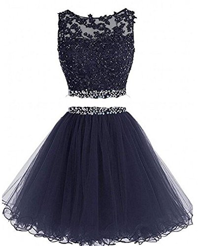 Chugu Short Prom Dress 2 Piece Homecoming Dresses for Women Beaded Cocktail Party Gown C8 Navyblue 14 (Short Gown Beaded)