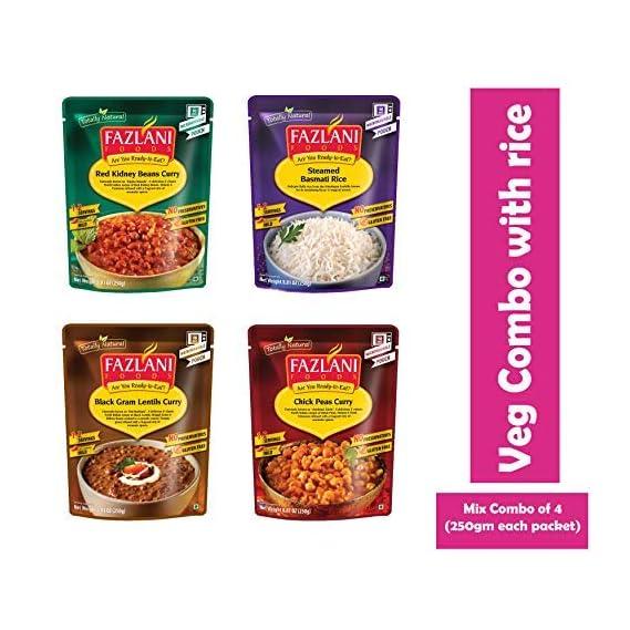 FAZLANI FOODS Ready to Eat Veg Combo of Steam Rice,Dal Makhani,Rajma Masala & Amritsar Chole -Pack of 4, 250gm Each