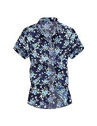 Turn Down Collar Shirts for Men,Short Sleeve Printed Tops Fashion Slim Loose Hawaii T-Shirt