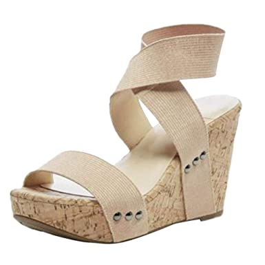 f7f594f86cb Women s Wedges Sandals Summer High Platform Elastic Band Open Toe Slingback Ankle  Strap Shoes (Beige