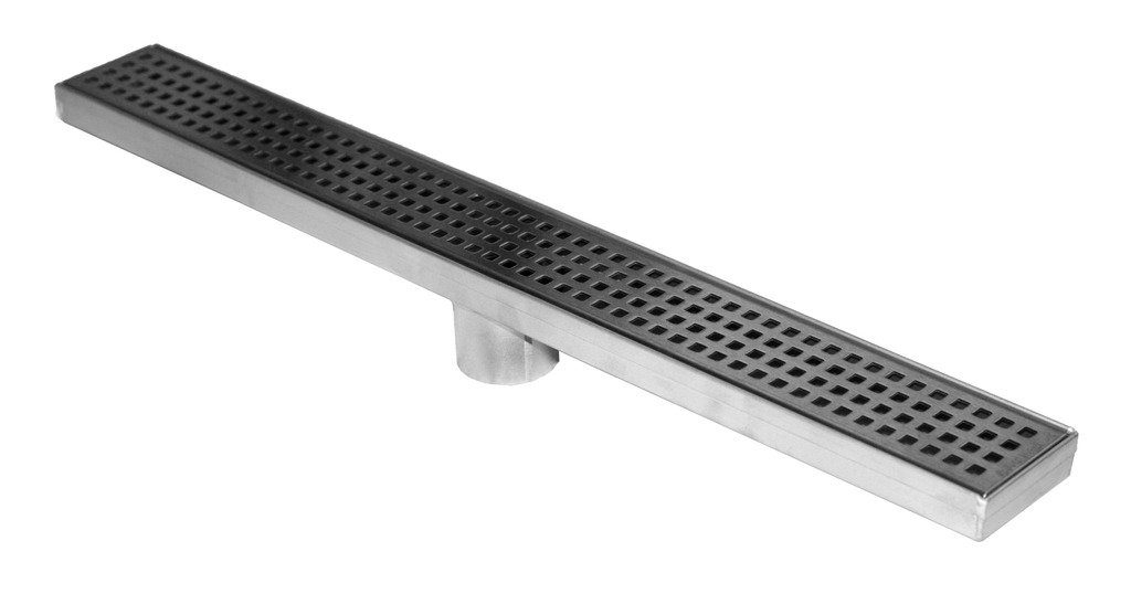 Novalinea – 48'' Linear Shower Drain with Squares Grate, Includes Strainer, 2'' Center Outlet, 304 Stainless Steel