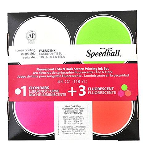 - Speedball SB45027 Glo 'n Dark and Fluorescent Screen Printing Ink, 4 oz Jars, Set of 4