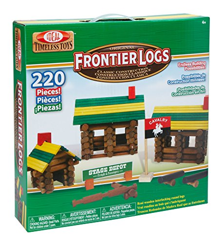 Ideal Frontier Logs 220 Piece Classic Wood Construction Set (Frontier Building Set)