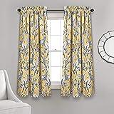 Lush Decor Dolores Room Darkening Window Curtain Panel Pair, 63″ x 52″+ 2″ Header, Yellow, 63″ L Review