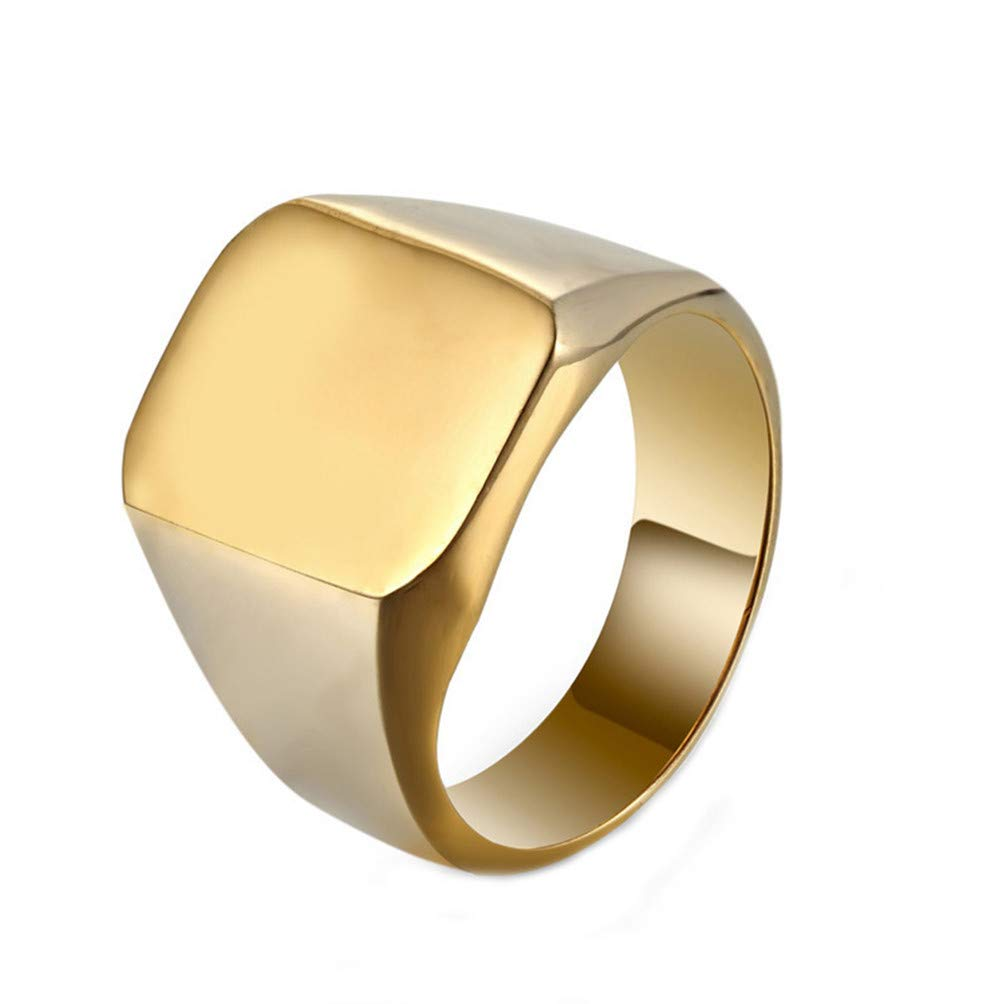 Eightgo Creative Square Big Signet Shape Rings Man Finger Ring Jewelry Gift(Gold 8) by Eightgo (Image #1)