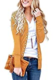 Steven McQueen Women's S-3XL Solid Button Front Knitwears Long Sleeve Casual Cardigans Mustard 2XL