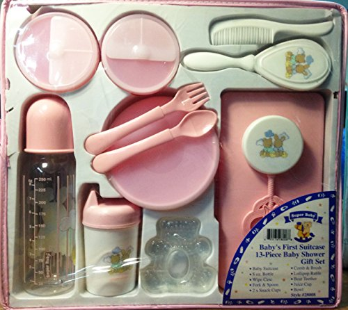 Baby's First Suitcase 13-piece Baby Shower Gift Set (Pink)