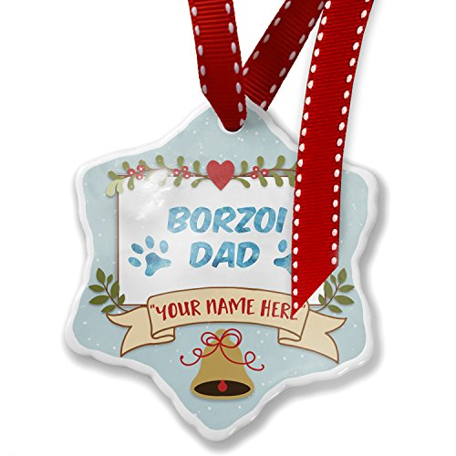 Add Your Own Custom Name, Dog & Cat Dad Borzoi Christmas Ornament NEONBLOND