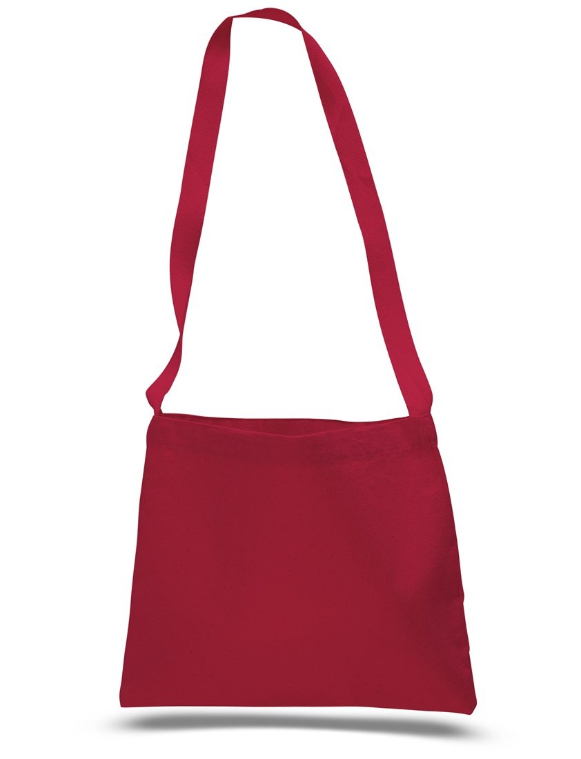 Cross Body Canvas Totes Small Messenger Tote Bags Long Shoulder Straps (Set of 1, Red)