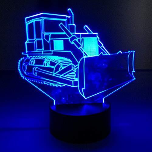 HIOJDWA Luz nocturna Bulldozer Touch Lámpara de mesa 7 colores Cambiador de suelo Lámpara de escritorio Lámpara 3D...