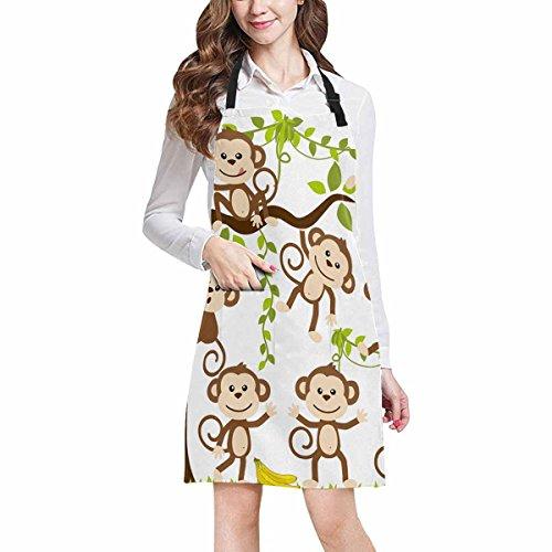 (InterestPrint Hipster Cute Cartoon Monkey Art Unisex Adjustable Bib Apron with Pockets for Women Men Girls Chef for Cooking Baking Gardening Crafting, Large Size)