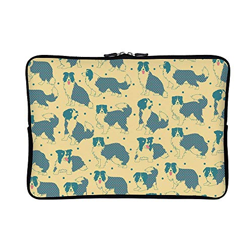 (DKISEE Abstract Border Collie Pattern Neoprene Laptop Sleeve Case Waterproof Sleeve Case Cover Bag 12 inch for MacBook/Notebook/Ultrabook/Chromebooks)