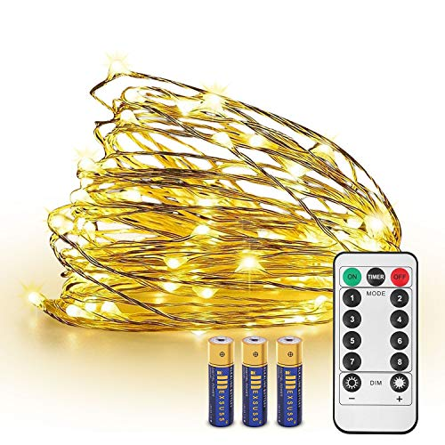 (JMEXSUSS 8 Modes Timer Remote Control 100 LED 32.8ft Battery Operated Dimmable Fairy String Copper Wire Lights for Christmas, Bedroom, Wedding, Party, Warm White, UL588 Approved (100LED+3AA Battery))