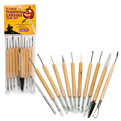 Pumpkin Carving Tools- Halloween Sculpting Kit with 11 Double Sided Pieces (21 Tool Set) for Jack-O-Lanterns and More]()