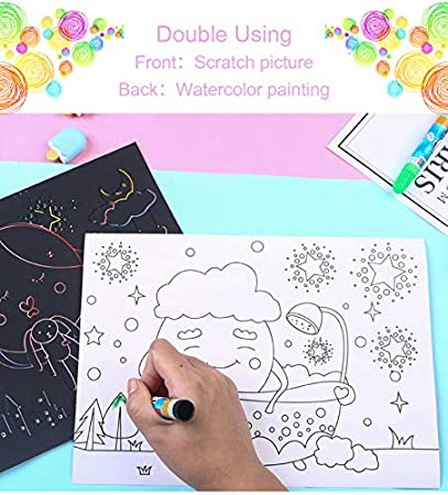 Both Sides Available Rainbow Sketch Pads Animal C-pop Scratch Art Papers Set for Kids Scratch Off Black Paper with Stylus,Travel Activity or Gift for Girls or Boys