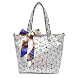 Women Tote Bag Geometry Sequins Mirror Saser Plain Folding Woman Shoulder Bags Silver 37x27x9cm