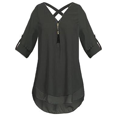 e5bfac74dd2d8b Women 2018 Fashion Plus Size Cuffed Long Sleeve Chiffon Blouse Zipper  V-Neck Hollow Out Back Tunic Tops Shirts at Amazon Women's Clothing store: