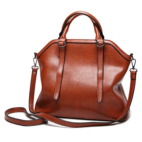 Sac Sacs D'épaule Bags En Bag poignée Shell Fourre Top Casual Bandoulière tout à Doux Brown Main Cuir Vintage Dames Femmes Big à PU 5X7wpFvq