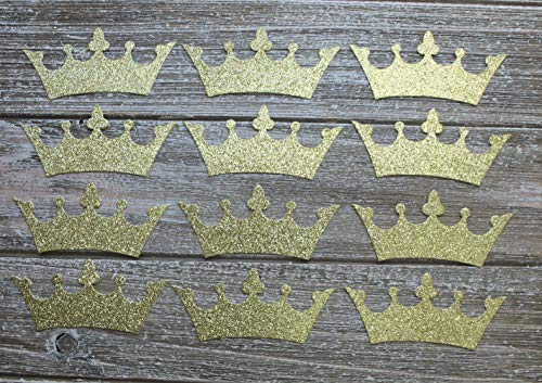 "12 gold glittered cardstock Crown die cuts 3 1/2"" wide"