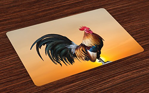 Ambesonne Rooster Place Mats Set of 4, Animal Cockerel on Sunrise Farmhouse Harvest Season Rural Pastoral Nature Scenery, Washable Fabric Placemats for Dining Table, Standard Size, Beige Orange (Rooster Table Mats)