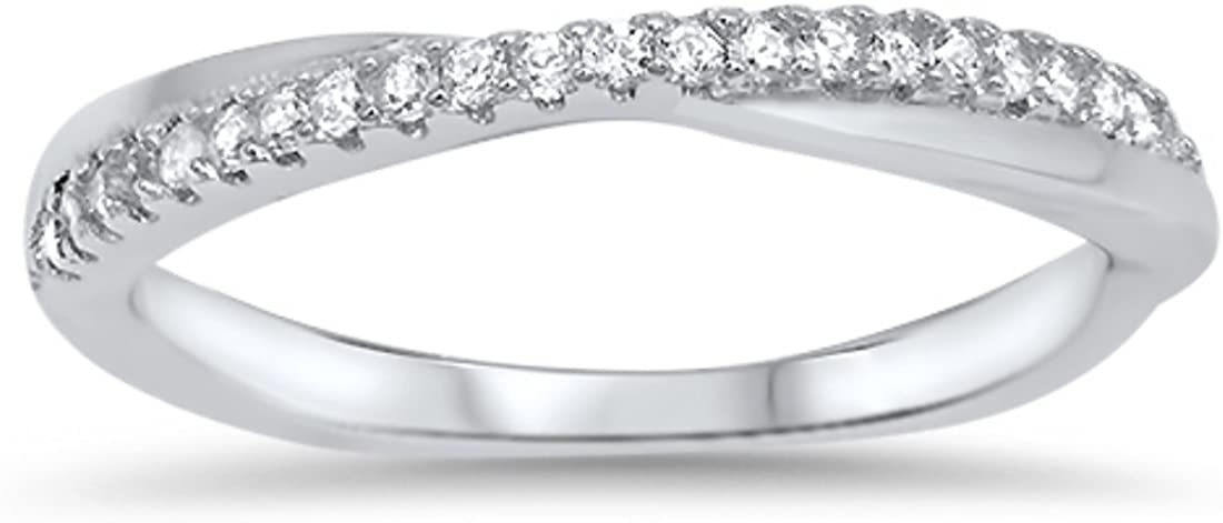 Blue Apple Co. Crisscross Crossover Trendy X Ring Pave Round Cubic Zirconia 925 Sterling Silver Half Eternity