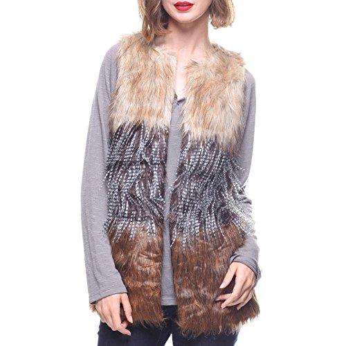 拒絶受取人消費(ファッションラボ) Fashion Lab レディース トップス ベスト?ジレ faux fur vest [並行輸入品]