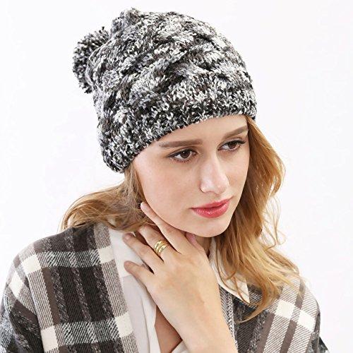 Casco la Las Hilado del Sombrero Maozi Las Bola Americanas Moda señoras Sombreros 1 señoras con Invierno del 2 del Knit qFwTd0F