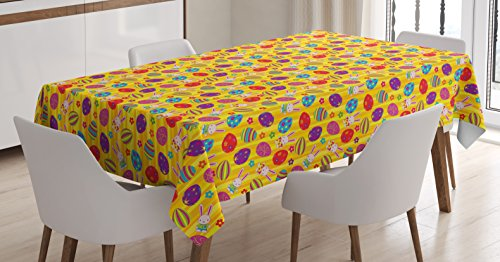 Ambesonne Easter Tablecloth by, Funky Colorful Icons with Different Patterns Daisies and Cute Kids Bunny Characters, Dining Room Kitchen Rectangular Table Cover, 52 W X 70 L Inches, Multicolor