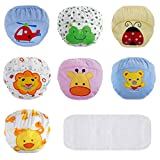Lictin Underwear Potty Training Pants,7pcs Reusable Toddlers Kids Potty Training Underpants Triple-Layer Training Pants with Cute Design Unisex for 2-3 Years Baby with 1pcs Reusable Diaper 100 Yards