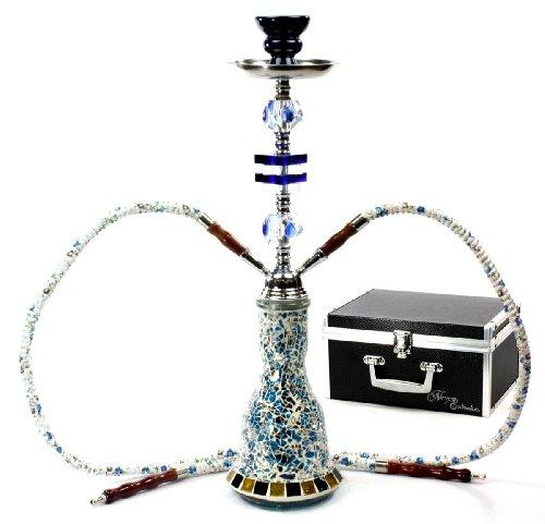 Never Exhale 20″ Premium 2 Hose Hookah Shisha Complete Set with Travel Case – Mosaic Tile Art Glass Vase, Health Care Stuffs