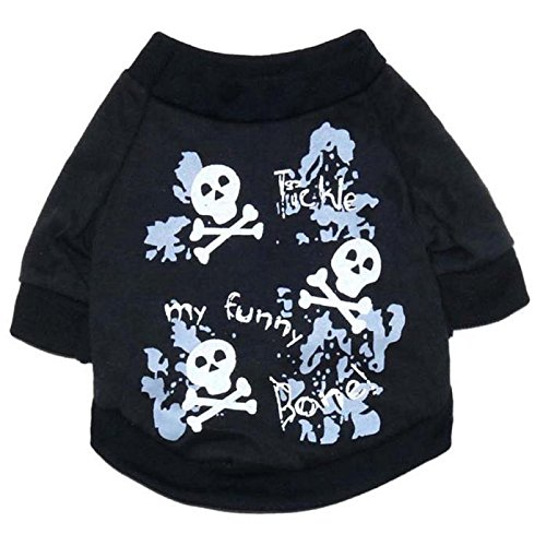 FAPIZI Halloween Fleece Black Skeleton Pet Dog Puppy Clothes with Hood Clothes (S) ()