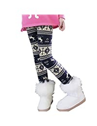 Jlong Baby Kids Winter Warm Thick Pants Snowflake Reindeer Fleece Lined Leggings