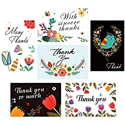 Thank You Cards, 36 Floral Thank You Notes not with Envelopes - 6 Design Blank Inside for Wedding,Business,Anniversary,Birthday Party- 4x6 Size - Bulk Pack