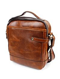 Men's Brown Leather Shoulder Bag - Classic Small Cross Body Pouch