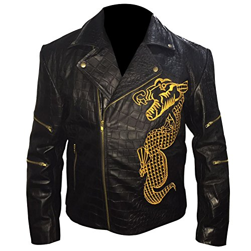 Killer Croc Suicide Squad - Waylon Jones Biker Black Cowhide Leather Jacket