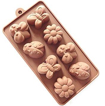 dingsheng silicona bandeja de hielo moldes Candy moldes, moldes Chocolate, jabón Moldes Candy Kit para hacer abeja, mariposa, mariquita, flor: Amazon.es: ...