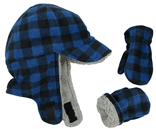 N'Ice Caps Little Boys and Baby Sherpa Lined Fleece Flap Hat Mitten Winter Set (2-3 Years, Royal Buffalo Plaid) - Kids Hat N Mitten
