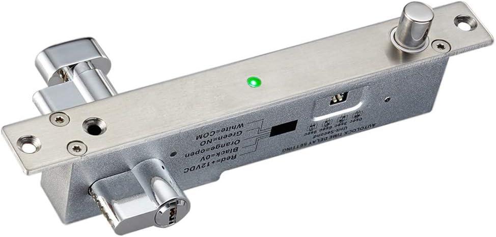 MQEIANG Cerradura electrónica Puerta automática de embutir pestillo de la Cerradura de embutir Tiempo de retardo NO Falla robustez Seguro Perno eléctrico con Cilindros (Color : NO Fail Secure)