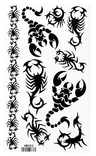 (Black Bracelets Scorpion Totem Tattoo Stickers Temporary Tattoos Fake Tattoos 3pcs/lot 17.8cm X 10cm)