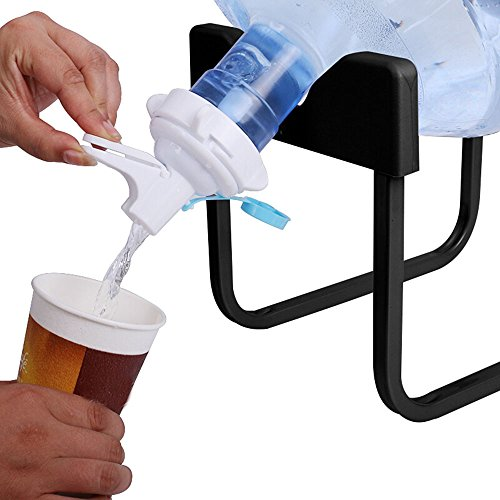 Alken 3-5 Gallon Water Jug Stand and White Dispenser Valve, Rust-Resistant Non Slip Water Stand with Food Grade Fast Flow Water Spout for 55MM Non Threaded Crown Top Water Jugs