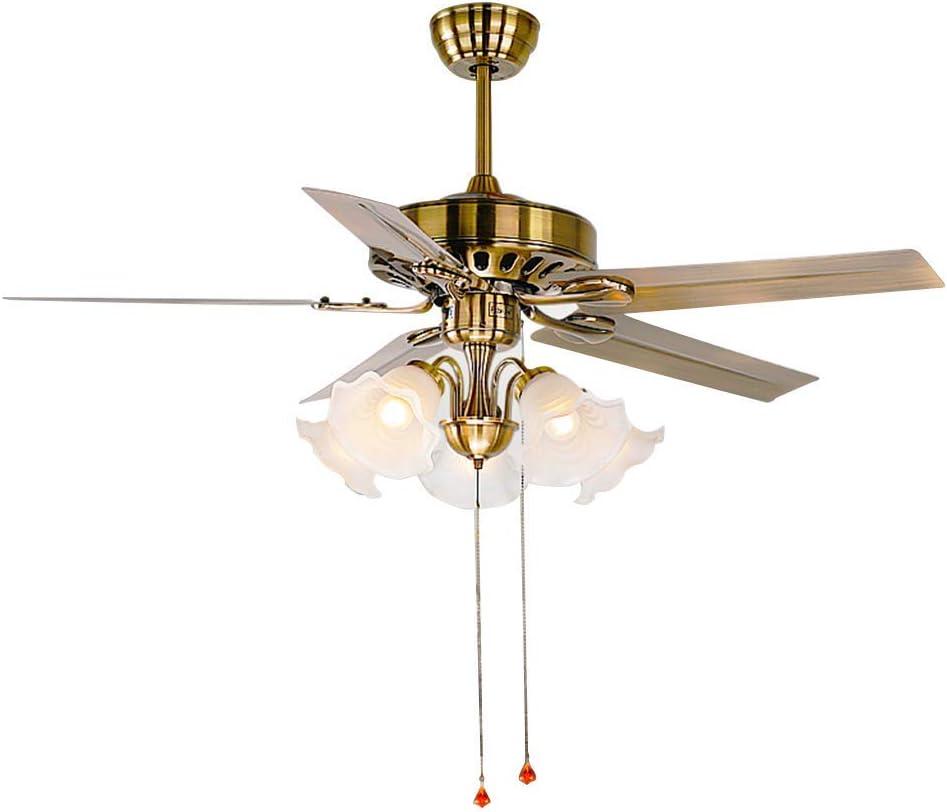 Los ventiladores de techo con ventilador con la iluminación, ventilador de luz comedor ventilador silencioso salón de chapa de hierro VVentilator latón dormitorio Europea, 120 * 49cm / 47.2 * 19.3inch