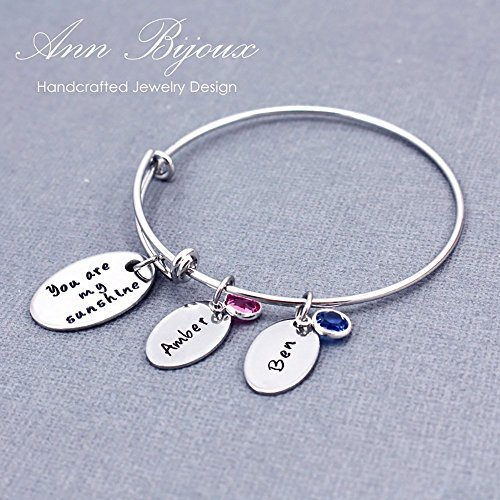 Hand Stamped Name Adjustable Bangle Personalized Message You are my sunshine Bracelet Stainless Steel Oval Charm Swarovski Birthstone Grandma Gift