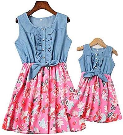 Loalirando Madre e Hija Vestidos de Verano Estampado Floral Vestidos Familiares Mangas Cortas Vestido de Princesa Niña/Vestidos Elegantes