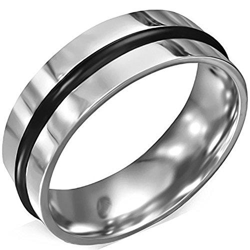 Zense-Bague-homme-en-acier-inoxydable-de-couleur-argent-brillant-avec-bande-de-caoutchouc-noir-ZR0108