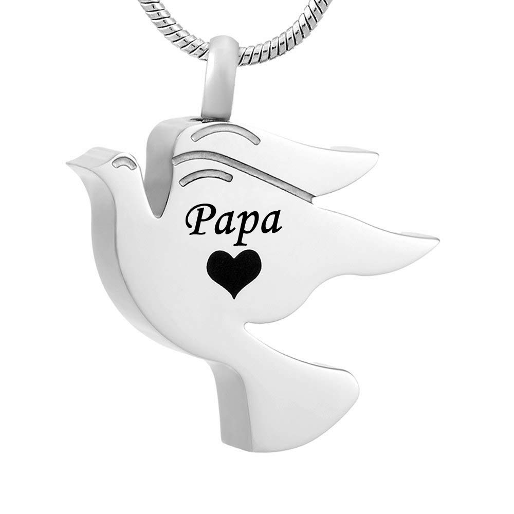Engrave Dad Mom Grandma Husband Keepsake misyou Cremation Jewelry Peace Dove Stainless Steel Memorial Urn Pendant Necklace for Ashes Holder