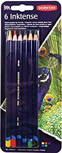 Derwent Colored Pencils, Drawing, Watercolor, Art, Inktense Ink Pencils, 6-Pack  (0700927)